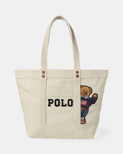 Canvas Polo Bear Tote Bag