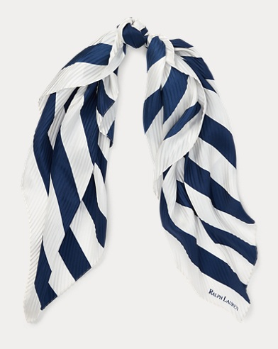 Pleated Striped Silk Scarf