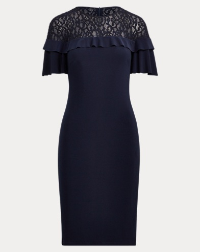 Lace-Yoke Ruffle Jersey Dress. Lauren