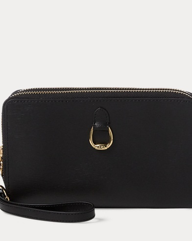 Double-Zip Leather Wristlet