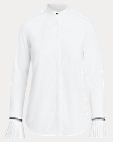 Baumwollhemd mit plissierten Bündchen