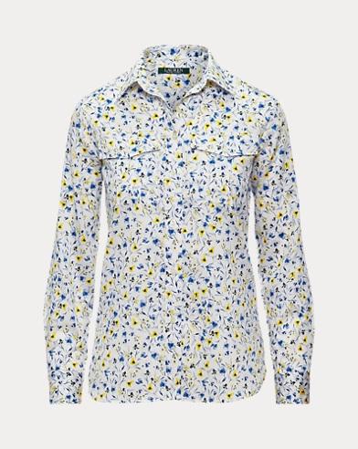 Bedrucktes Hemd aus Baumwollatlas