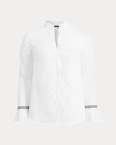 Camicia in cotone polsini a pieghe