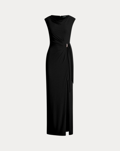 Brooch Jersey Cowlneck Gown