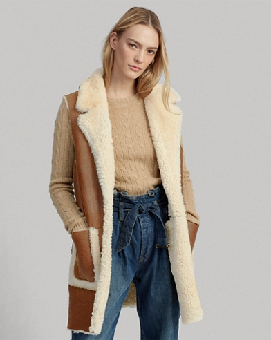 Gilet in shearling double-face