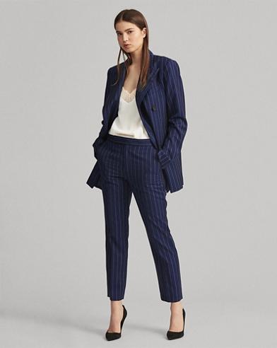 Pinstripe Wool Skinny Pant