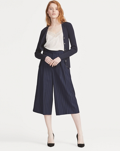 Pinstripe Wool Wide-Leg Trouser
