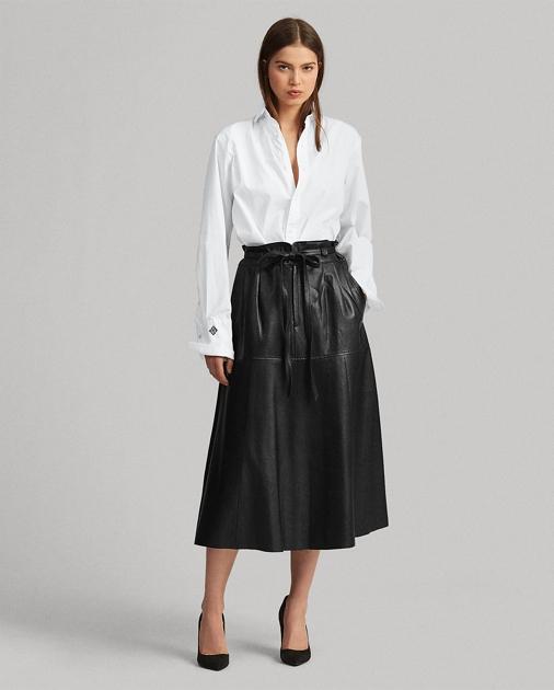 ff1a19e5c57 Polo Ralph Lauren Leather Midi Skirt 1
