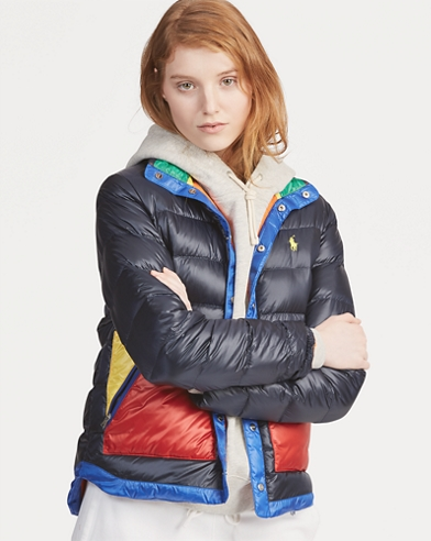 Colour-Blocked Down Jacket