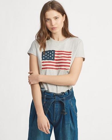 Baumwoll-T-Shirt mit Flagge