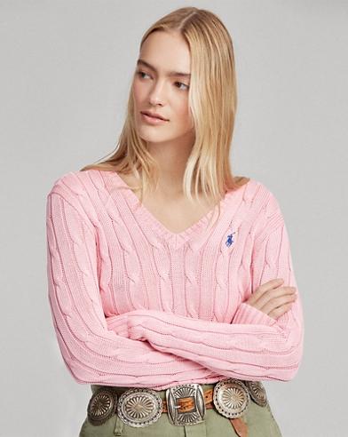Jersey con punto trenzado de cuello de pico