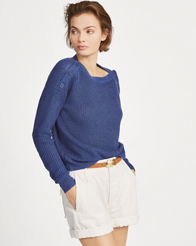 Button-Shoulder Linen Jumper