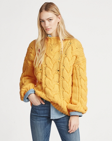 Aran-Knit Wool-Blend Sweater