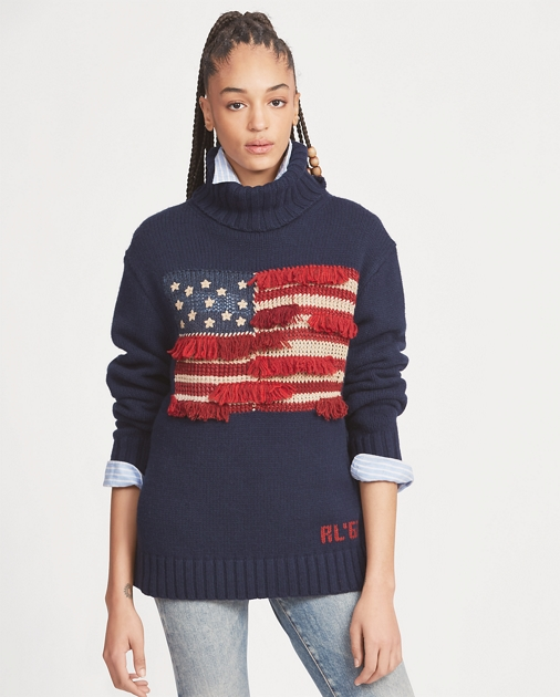 Polo Ralph Lauren Fringe-Trim Flag Sweater