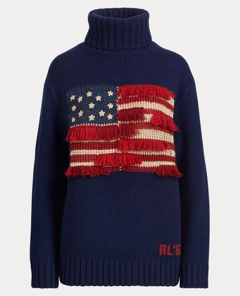 Fringe-Trim Flag Sweater