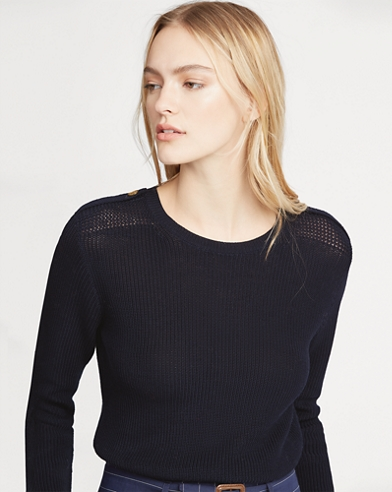Button-Shoulder Cotton Jumper