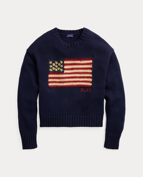 Beaded Flag Cotton Sweater