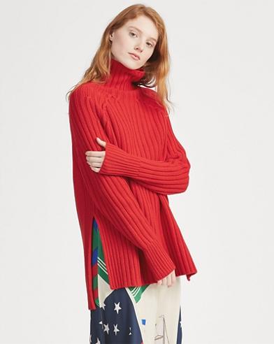 Suéter de cuello vuelto en cachemira y lana