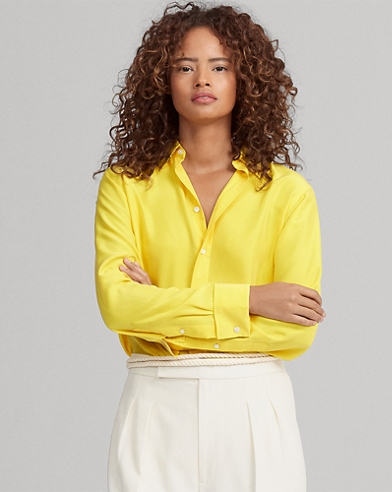 Silk Crepe Button-Down Shirt