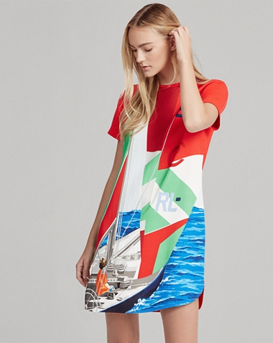 Sailboat Satin Shift Dress