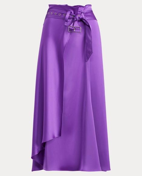 Cargo Satin Wrap Skirt