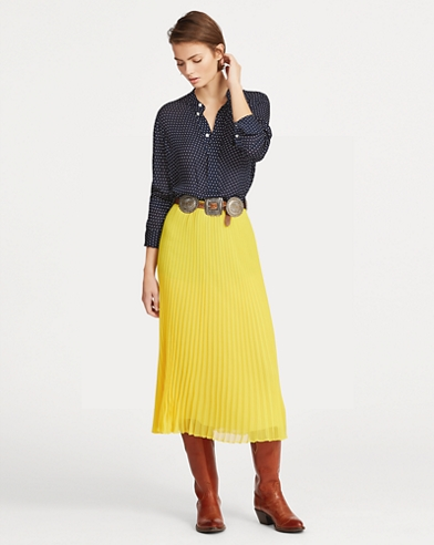Pleated Georgette Midi Skirt