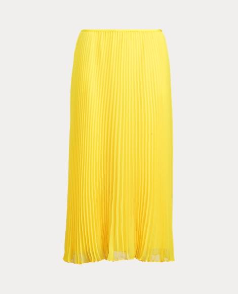 Pleated Georgette Midi Skirt