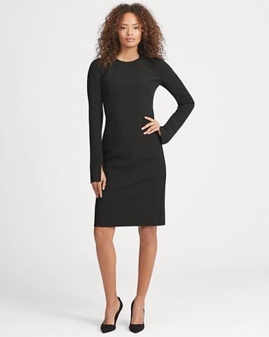 Stretch Wool Sleeve-Slit Dress