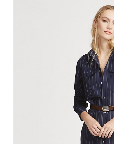 Pinstripe Wool Shirtdress