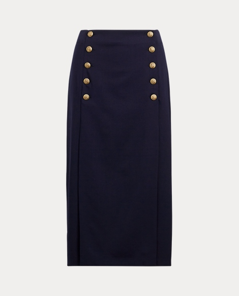 Double-Breasted Wool Skirt