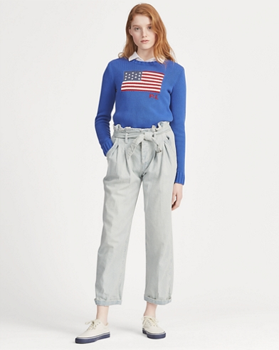 Belted Striped Paperbag Jean