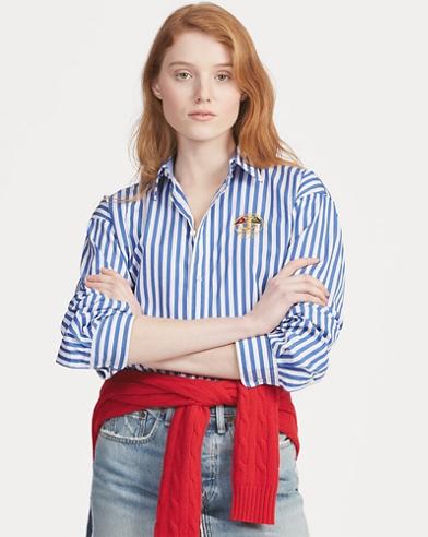 Boyfriend Fit Striped Shirt