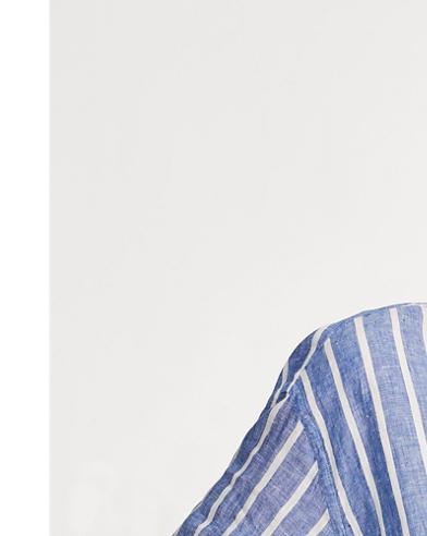 Striped Cropped Linen Shirt