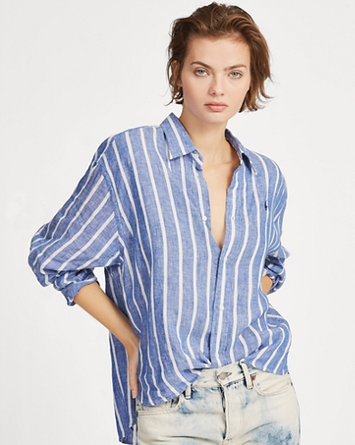 Striped Cropped Linen Shirt