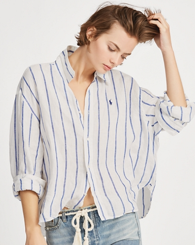 a9ba28b0e2b Striped Cropped Linen Shirt. 20% OFF. Polo Ralph Lauren