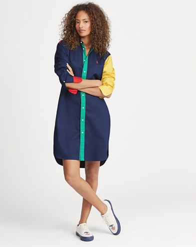 Colour-Blocked Cotton Dress
