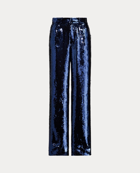 Sequined Wide-Leg Trousers