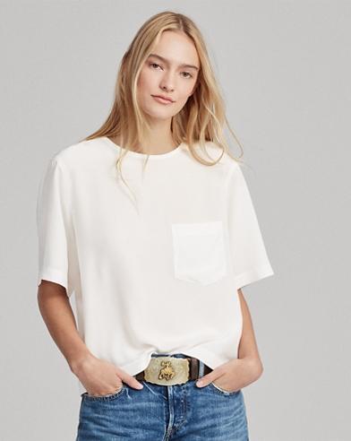 Silk Pocket Crewneck T-Shirt