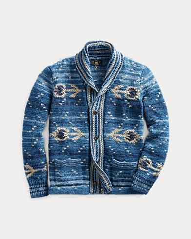 Hand-Knit Indigo Cardigan
