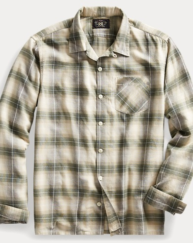 Plaid Cotton-Blend Camp Shirt