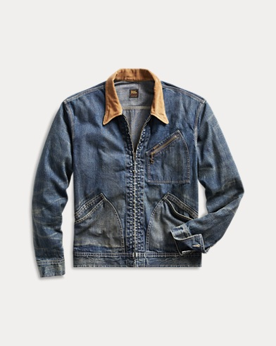 Corduroy-Collar Denim Jacket