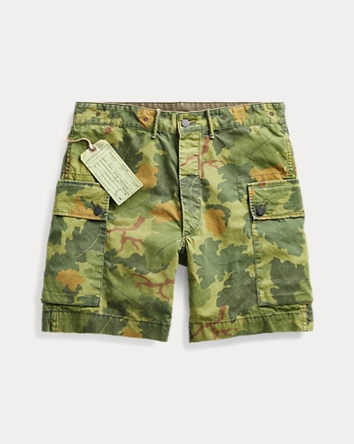 Camo Cotton Poplin Cargo Short