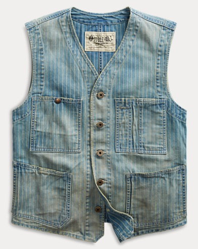 Indigo Striped Twill Vest