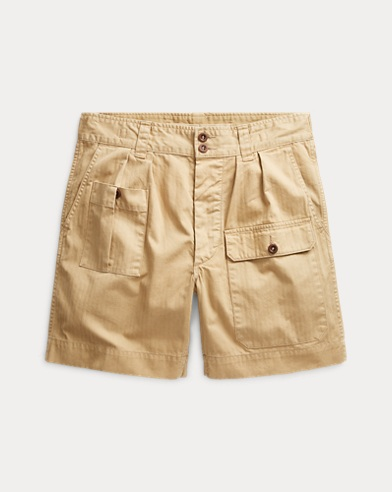 Pleated Cotton Twill Short