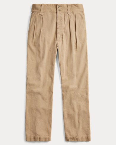 Pleated Cotton Chino
