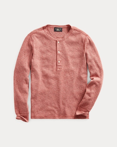 Waffle-Knit Cotton Henley