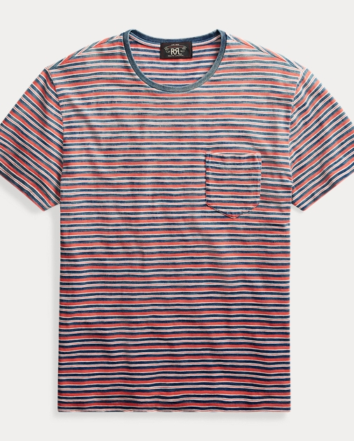 c919bbee RRL Indigo Striped Pocket Tee 1