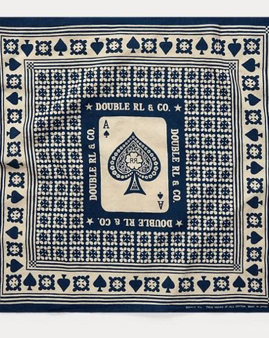 Indigo Card-Print Bandanna