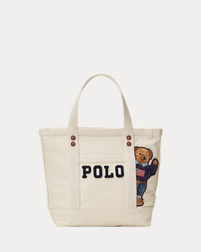 Canvas Small Polo Bear Tote