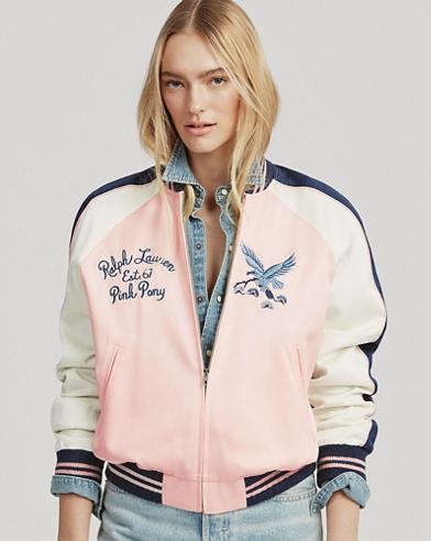 Pink Pony Satin Bomber Jacket